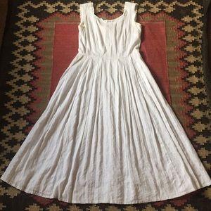 Vintage White Lace Trimmed Maxi Dress